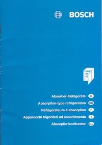 Gebrauchsanweisung Fur Bosch Absorber Kuhlgerate Bosch Buch