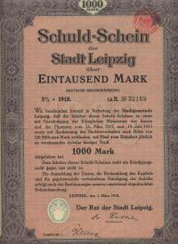 Schuldschein der Stadt Leipzig über 1000 Mark Deutsche Reichswährung ...