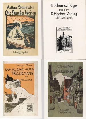 Buchumschläge, Plakat und Plakatentwurf aus dem S. Fischer Verlag [8 Postkarten in einer Mappe]