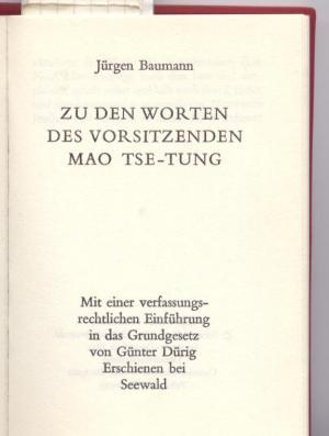 Zu den Worten des Vorsitzenden Mao Tse-Tung