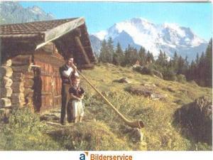 AK Color Wengen - Alphornbläser und Sennenbub mit Jungfrau