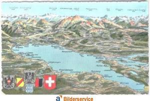 AK Color Panorama Bodensee mit Alpen um 1958
