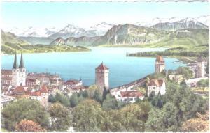 AK Color Luzern - Hofkirche - Museggtürme und die Alpen