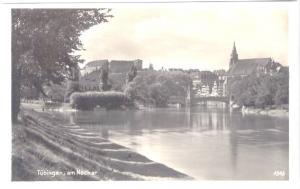 AK SW Tübingen am Neckar - Ansicht mit Brücke und Dom