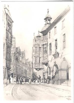AK SW Koblenz Vier Türme mit der Hauptwache um 1830