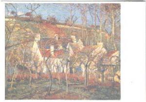 AK Color Künstler Pissarro Les toits Rouges von 1877 Kunstkarte um 1930