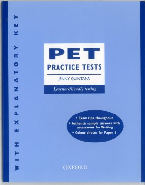 Bildtext: PET Practice Tests - five new tests for the updated Cambridge Preliminary English Test  - With key edition von Jenny Quintana, David Eaton