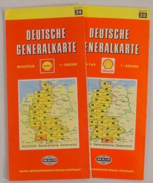 Deutsche Generalkarte Blatt 24, Gebiet Südwest, Freiburg, Friedrichshafen, plus Blatt 25, Gebiet südwestlich von München bis Bodensee