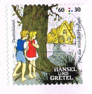 Brief mit Briefmarke Bundesrepublik Deutschland: MiNr. 3056 - Grimms Märchen  Hänsel und Gretel: Die Kinder im Wald