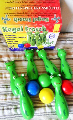 Holzspielzeug Balancespiele SMALL FOOT 8166 Kegel Frosch Kegelspiel