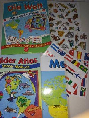 Die Welt Karte.Die Welt Meine Erste Weltkarte Beschichtetes Poster Mit Flaggenaufkleber Und Sticker Malbuch