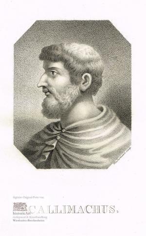 Callimachus. Brustbild in Toga nach halblinks im Oktagon. Kupferstich in Punktierstich-Manier von Wachsmann um 1825