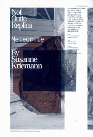 Bildtext: Not Quite Replica - a Story of Relocation The Crooswijk Meteorite von Susanne G. Kriemann, F. Vries, M. Konrad, D.Reneman, M. Proceddu, D. Veenstra