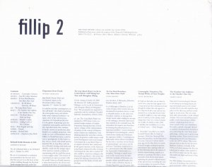Bildtext: Fillip #2 THE FILLIP REVIEW: volume one, number two (winter 2006) von Monika Szewczyk, Judy Radul, LORNA BROWN, LANCE BLOMGREN, SEAMUS KEALY,Lu Jie, LAWRENCE RINDER, Aaron Peck, Brady Cranfield, Andrew Power, Linsay Brown, Donato Mancini, Eleanor Morgan