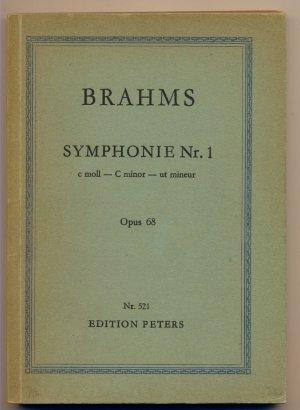 Brahms Symphonie Nr. 1 c-moll Opus 68 C minor ut mineur Opus 68 Studienpartitur Editions Peters Nr. 521