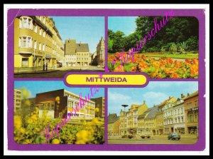 Mittweida (Kr. Hainichen), Markt, Schwanenteich, Poliklinik, Ansichtskarte 1983