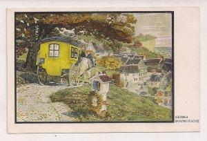 AK Color Kunstkarte Georgi Postkutsche bei der Einfahrt in Ortschaft um 1920
