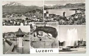AK SW Luzern Schweiz Kapellbrücke Vierwaldstättersee Wasserturm um 1930