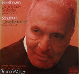 Beethoven Schicksalssinfonie Nr.5 c-moll - op.67) und Schubert Unvollendete (Nr.8 h-moll) mit Columbia Symphonie Orchester / New Yorker Philharmoniker u.d.L.v. Bruno Walter (Vinyl-LP)
