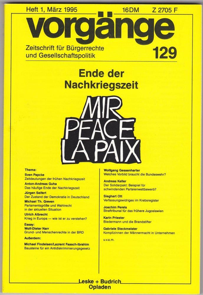 gebrauchtes buch vorgnge 129 ende der nachkriegszeit zeitschrift fr brgerrechte - Burgerrechte Beispiele