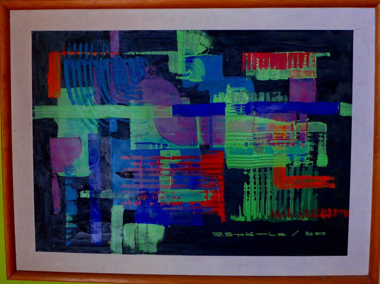 Abstrakte Komposition, Öl auf Papier / Holzplatte, gerahmt, 1960 ...