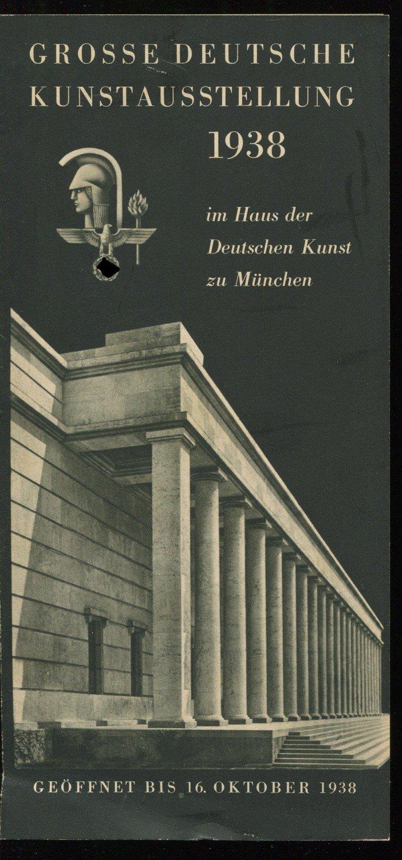 werbezettel gro e deutsche kunstausstellung 1938 im haus der haus der deutschen kunst zu. Black Bedroom Furniture Sets. Home Design Ideas