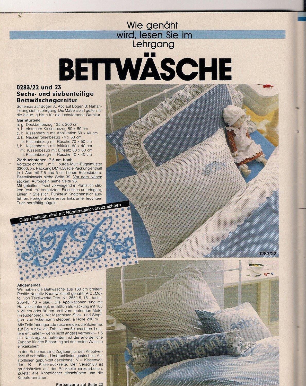Anna Burda Spaß An Handarbeiten 2 Februar 1983 Lehrgang Bettwäsche