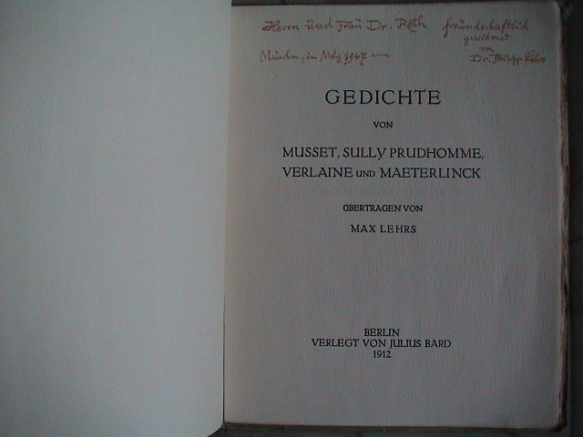 Gedichte Von Musset Sully Prudhomme Verlaine Und Maeterlinck