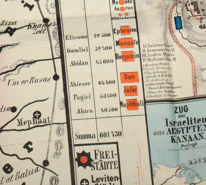 """ORIGINAL Außergewöhnliche farbige Karte von PALÄSTINA 1869 -"""" (Fv ..."""