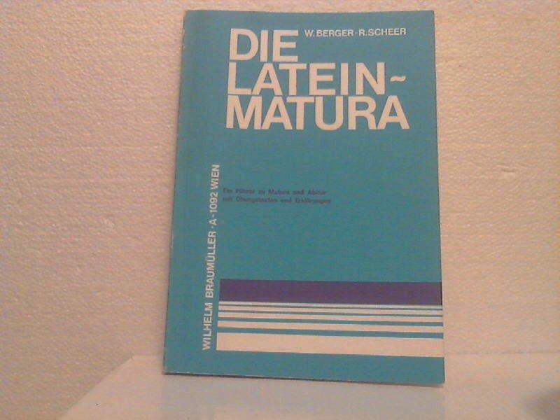 Die Latein Matura Berger Walter Und Rudolf Scheer Buch
