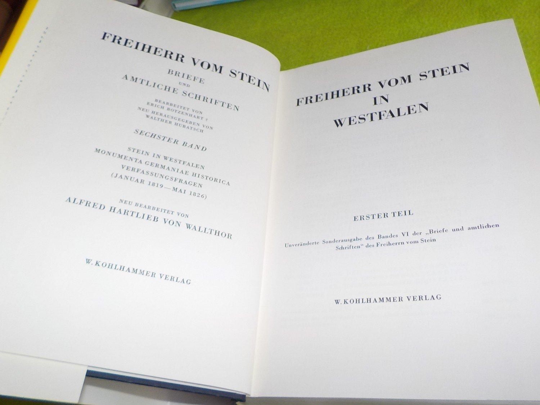 Freiherr Vom Stein Briefe Und Amtliche Schriften Wallthor Alfred