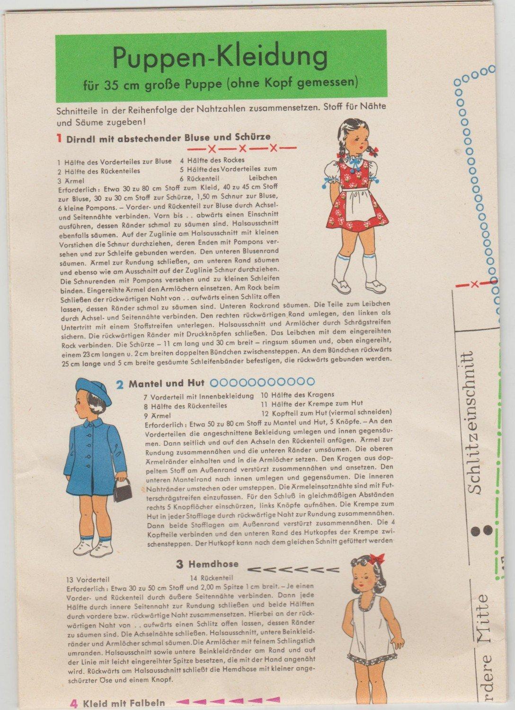 Niedlich Puppenschnittmuster Bilder - Strickmuster-Ideen ...