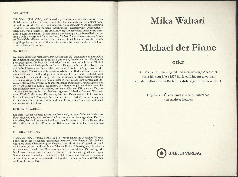 Michael der Finne - Des Michael Pelzfuß Jugend und merkwürdige ...