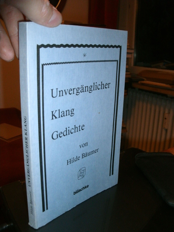 Unverganglicher Klang Gedichte Hilde Baumer Buch Gebraucht Kaufen A02hfgwg01zzz