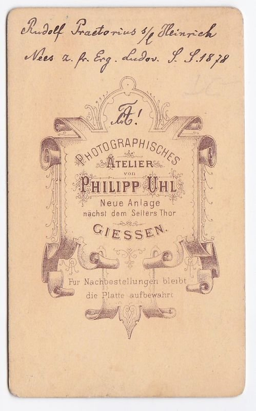 Antiquarisches Buch Uhl Ph Photographisches Atelier Giessen CDV Carte De Visite