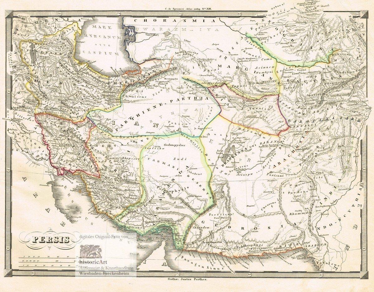 Persien Karte.Persis Große Landkarte Von Persien Vom Kaspischen Meer Im Norden Bis Zum Persischen Golf Im Süden Großer Grenzkolorierter Stahlstich Von Spruner Bei