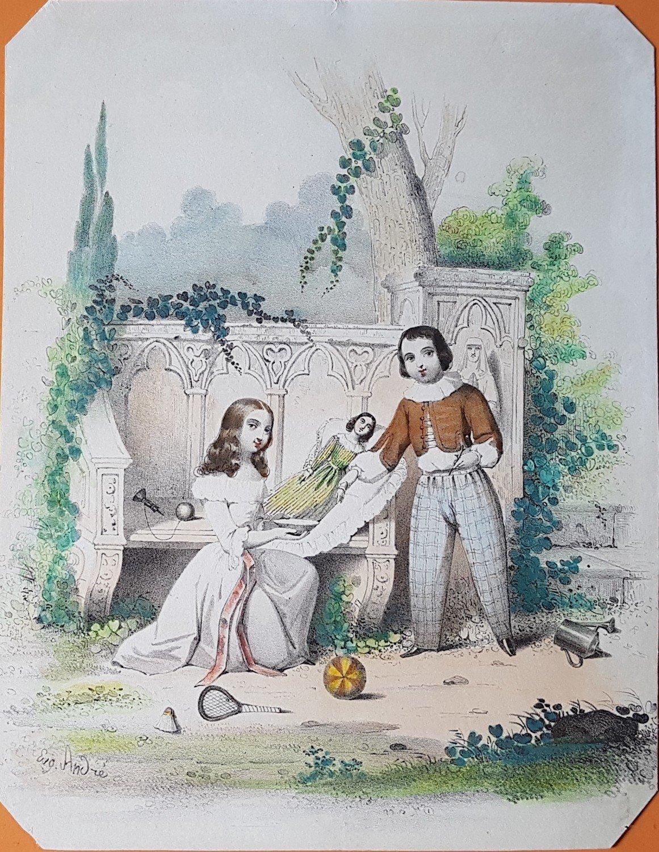 """Biedermeier Kinder beim Spiel - zeitgenössische Lithografie"""" – Buch ..."""