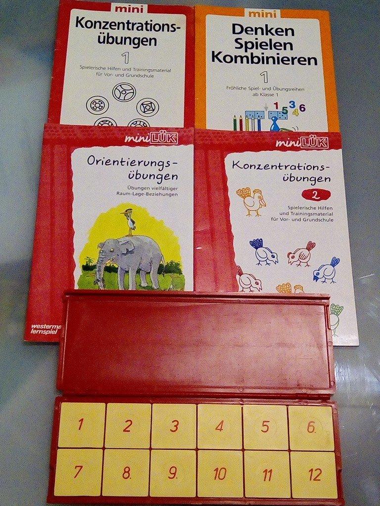 mini LÜK Kasten + 200 Hefte Konzentrationsübungen 200+20 + Denken, Spielen,  Kombinieren + Orientierungsübungen