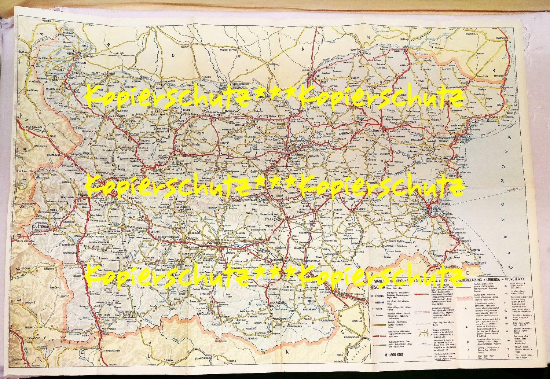 Karte Bulgarien.Mit Dem Wagen Durch Bulgarien Alte Karte Balkantourist 1980er Jahre