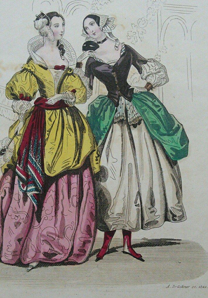 4 Originale Altkolorierte Originale Mode Und Kostüm Stahlstiche