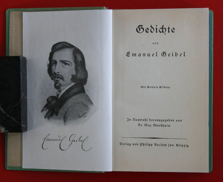 Geibel Gedichte Auswahl Und Vorwort Max Mendheim