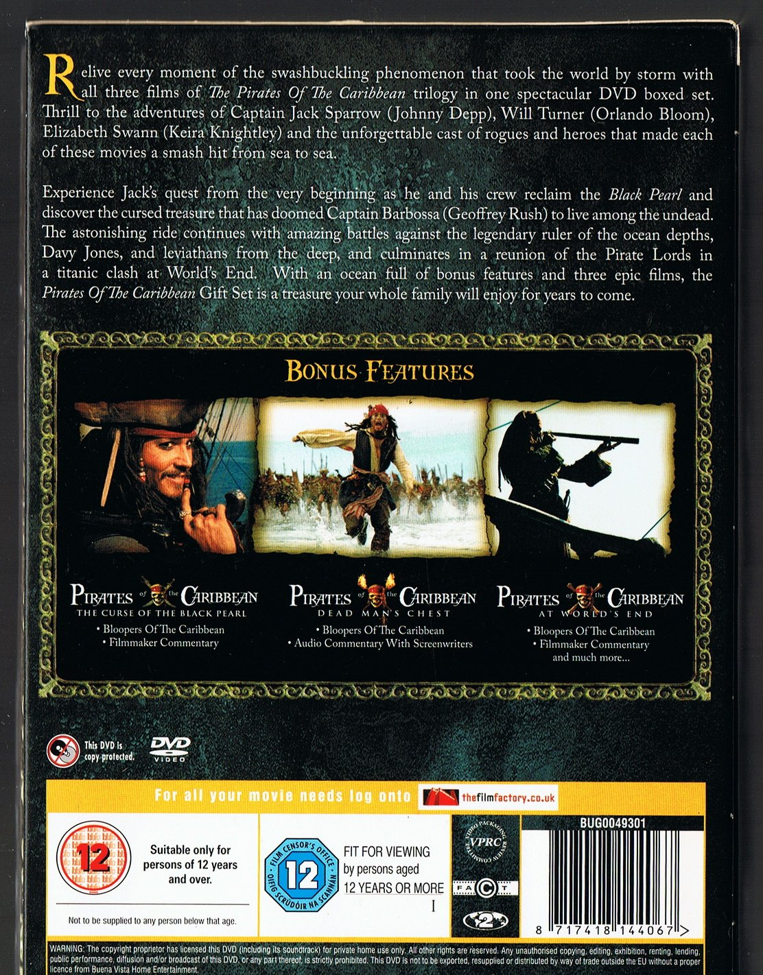 Pirates Of The Caribbean Three Movie Collection Dvd Film