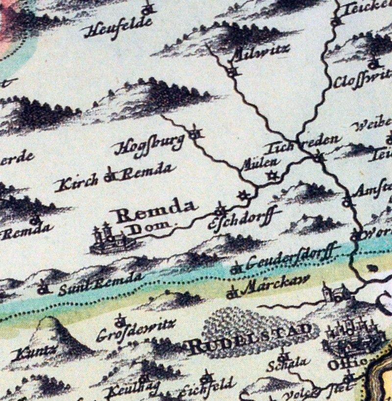 Thüringer Wald Karte.Historische Karte Amt Eisenach Und Der Thüringer Wald 1716 Plano Reprint