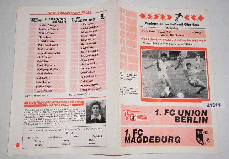 Programm 1987//88 Union Berlin RW Erfurt