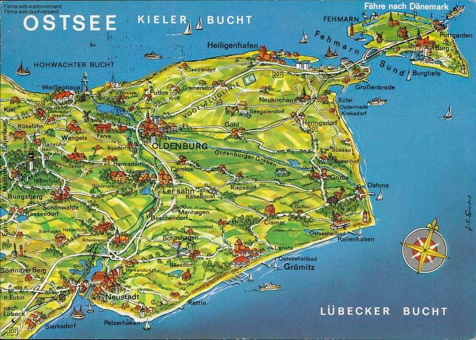 Kieler Bucht Karte.Ostsee Karte Kieler Bucht Lübecker Bucht Fähre Nach Dänemark